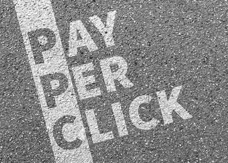 Pay per click painted on road