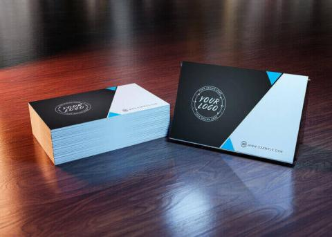 Business cards on a table